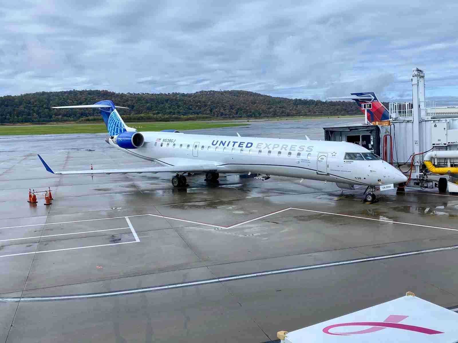 A United Express Bombardier CRJ 550 is seen in Harrisburg, Pennsylvania, after its first flight for the airline. (Photo by Zach Griff/The Points Guy)