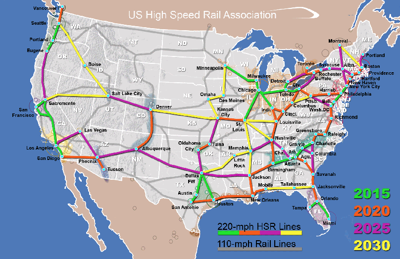 This map shows what a fully integrated, multi-layered national rail system would look like by 2030. Map courtesy of the U.S. High Speed Rail Association