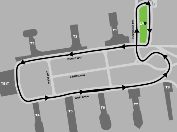 A map showing the shuttle route from the terminal