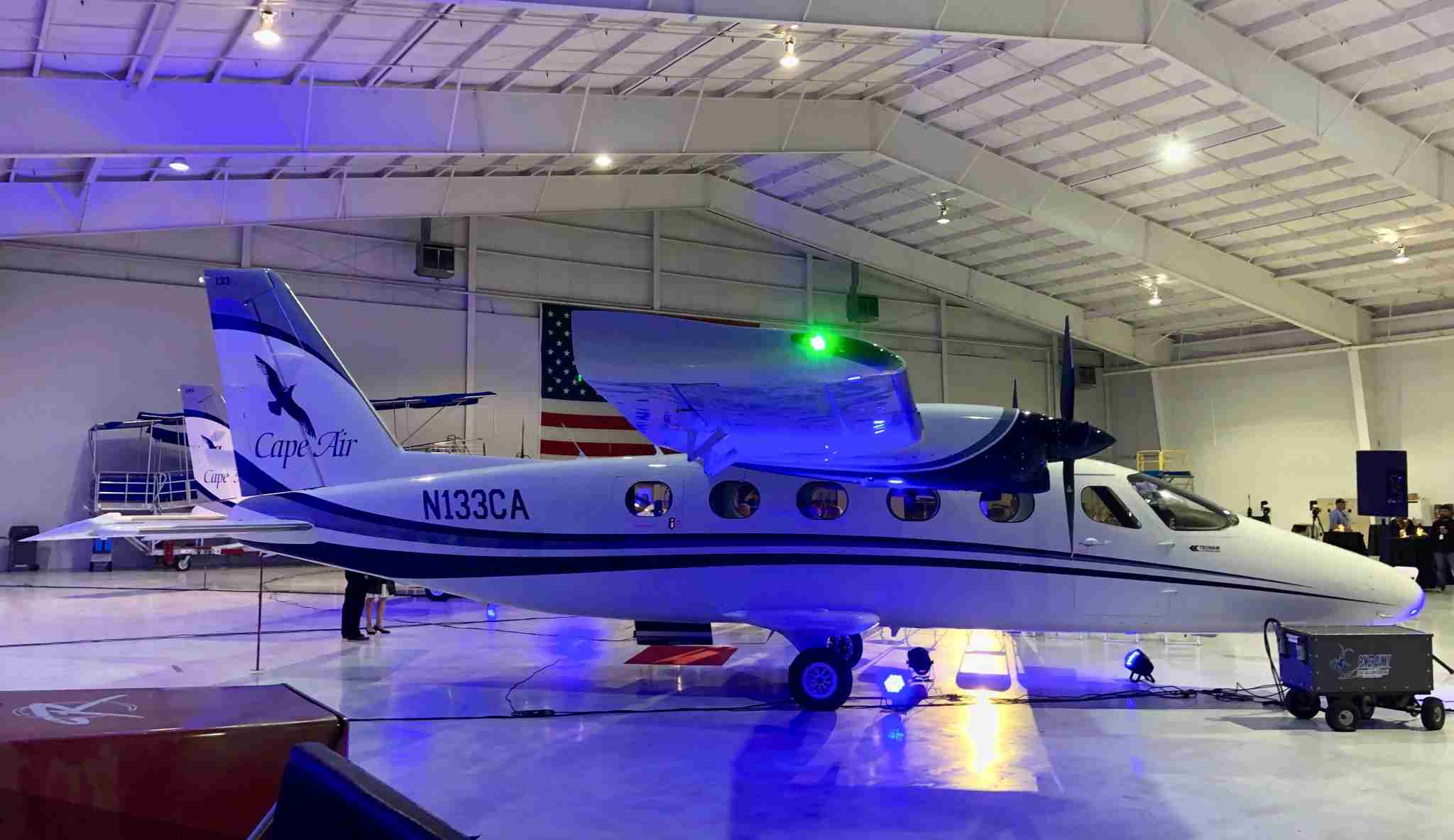 Cape Air showed off its first two Tecnam P2012 Travellers at an event at Barnstable Municipal Airport on Oct. 16. (Photo by Edward Russell/TPG)