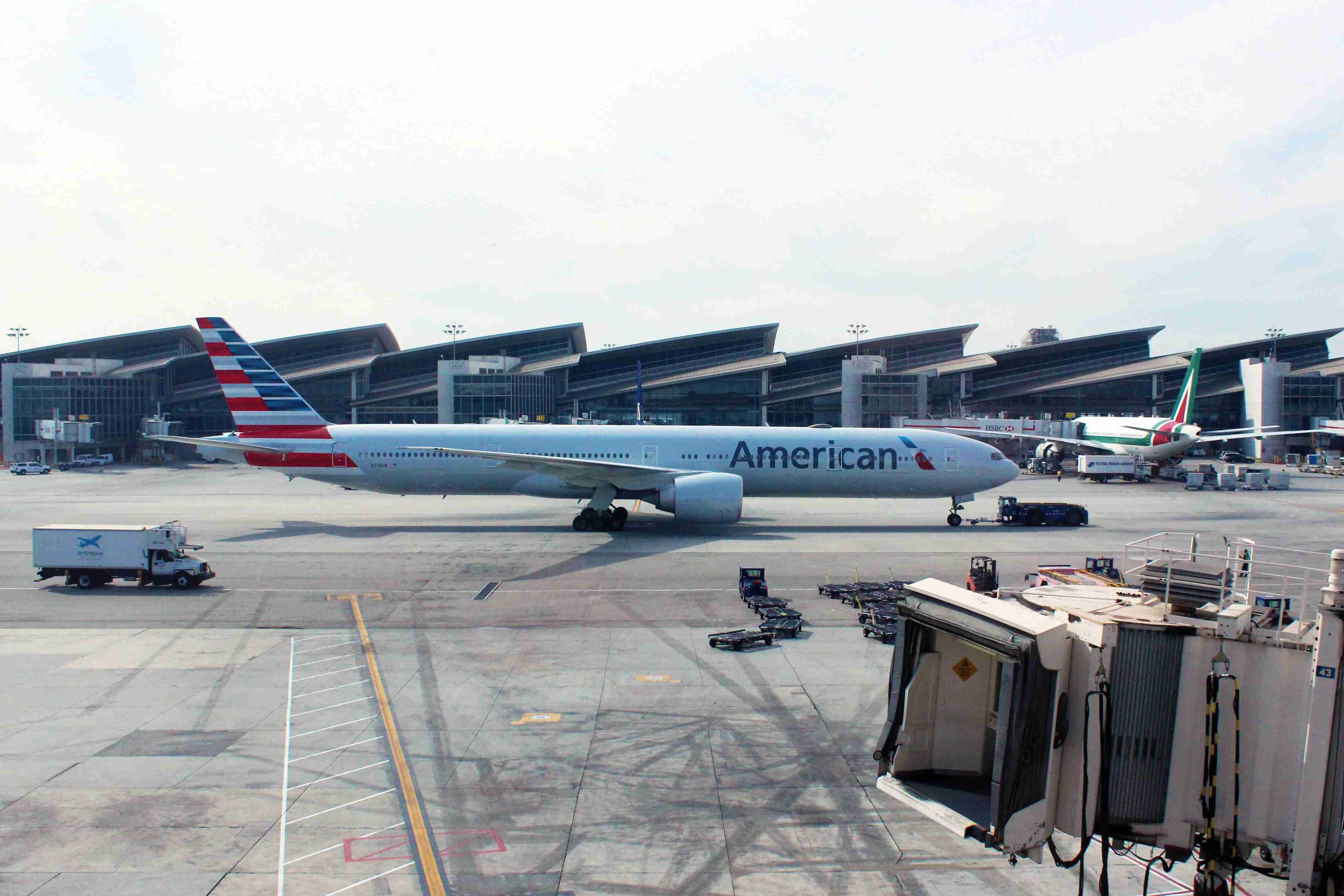 American Airlines pushed back, and now communicating with the gorund contorllers in the tower.