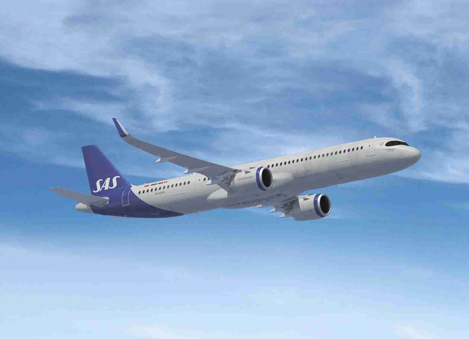 A rendering of an Airbus A321LR in the colors of Scandinavian carrier SAS. (Courtesy of SAS)