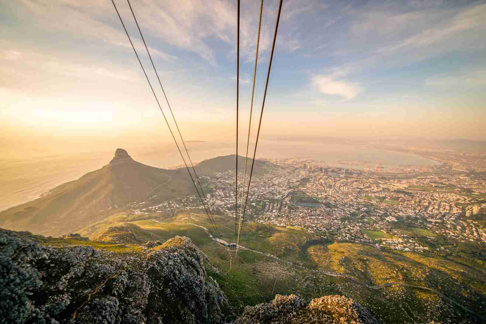 The view from the top of Table Mountain via the Aerial Cableway. (Photo by Chiara Salvadori/Getty Images)
