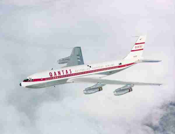 (Original Caption) Photograph of boeing 707 made for qantas, the Australian overseas airline. Filed 1965.