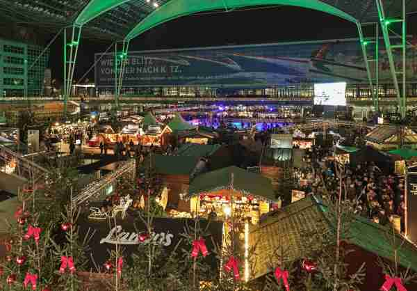 Christmas and Winter Market in the Munich Airport. (Photo by klug-photo/Getty Images)