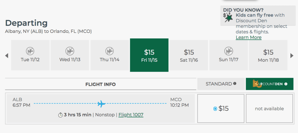 Get out of the cold and fly to Florida for just $15!