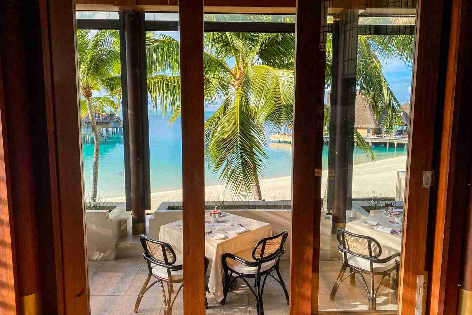 Breakfast with a view was free at Conrad Bora Bora thanks to Hilton Gold status (Photo by Summer Hull/The Points Guy)