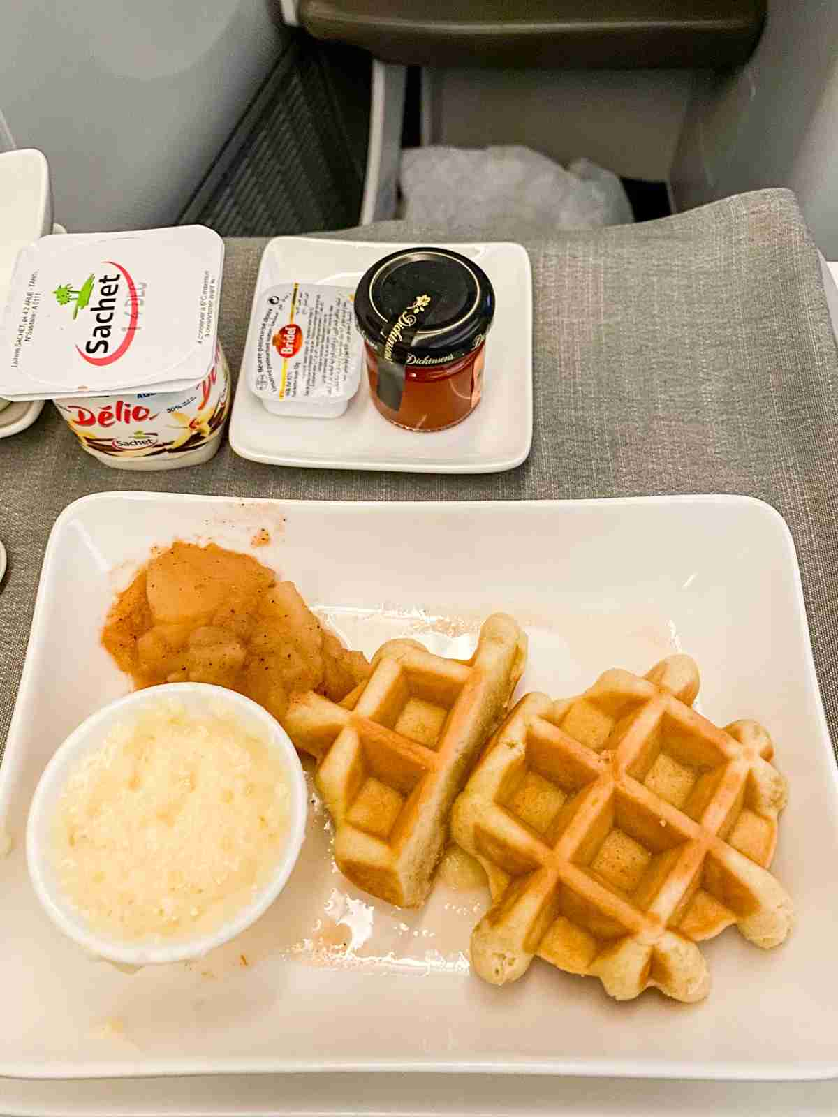 Morning waffles on Air Tahiti Nui (Photo by Summer Hull/The Points Guy)