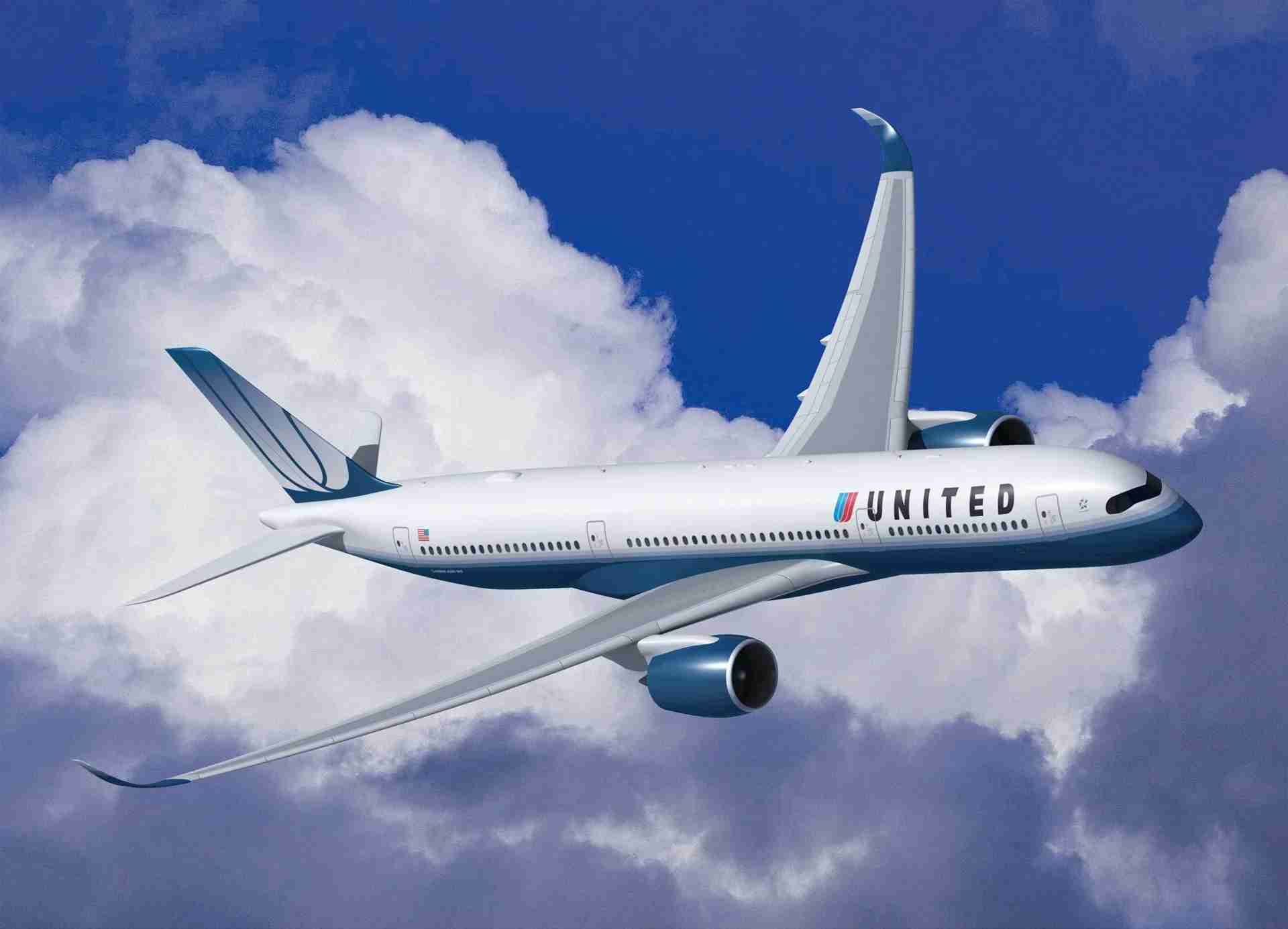 An early rendering of a United Airlines A350-900 in 2009. (Image courtesy of Airbus)