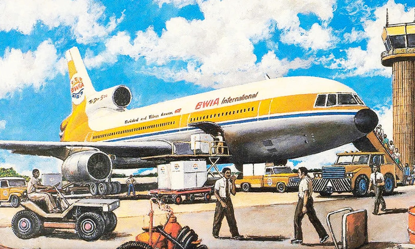 Artist's rendering of a BWIA TriStar at Port of Spain, Trinidad.