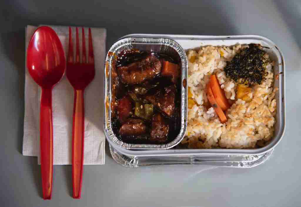 An AirAsia airline meal seen during the flight. (Photo by Miguel Candela/SOPA Images/LightRocket via Getty Images)