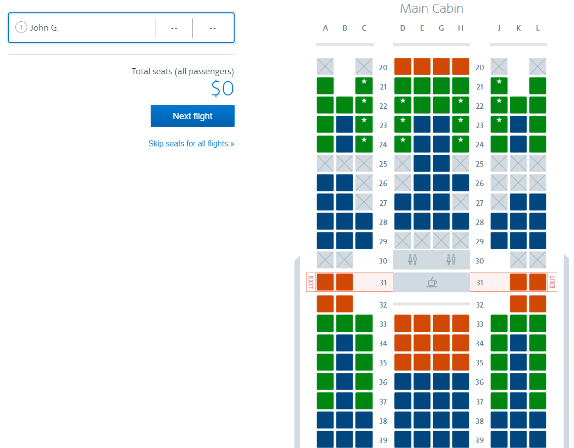 The cost for selecting seats disappears when logged in as an Executive Platinum elite member.
