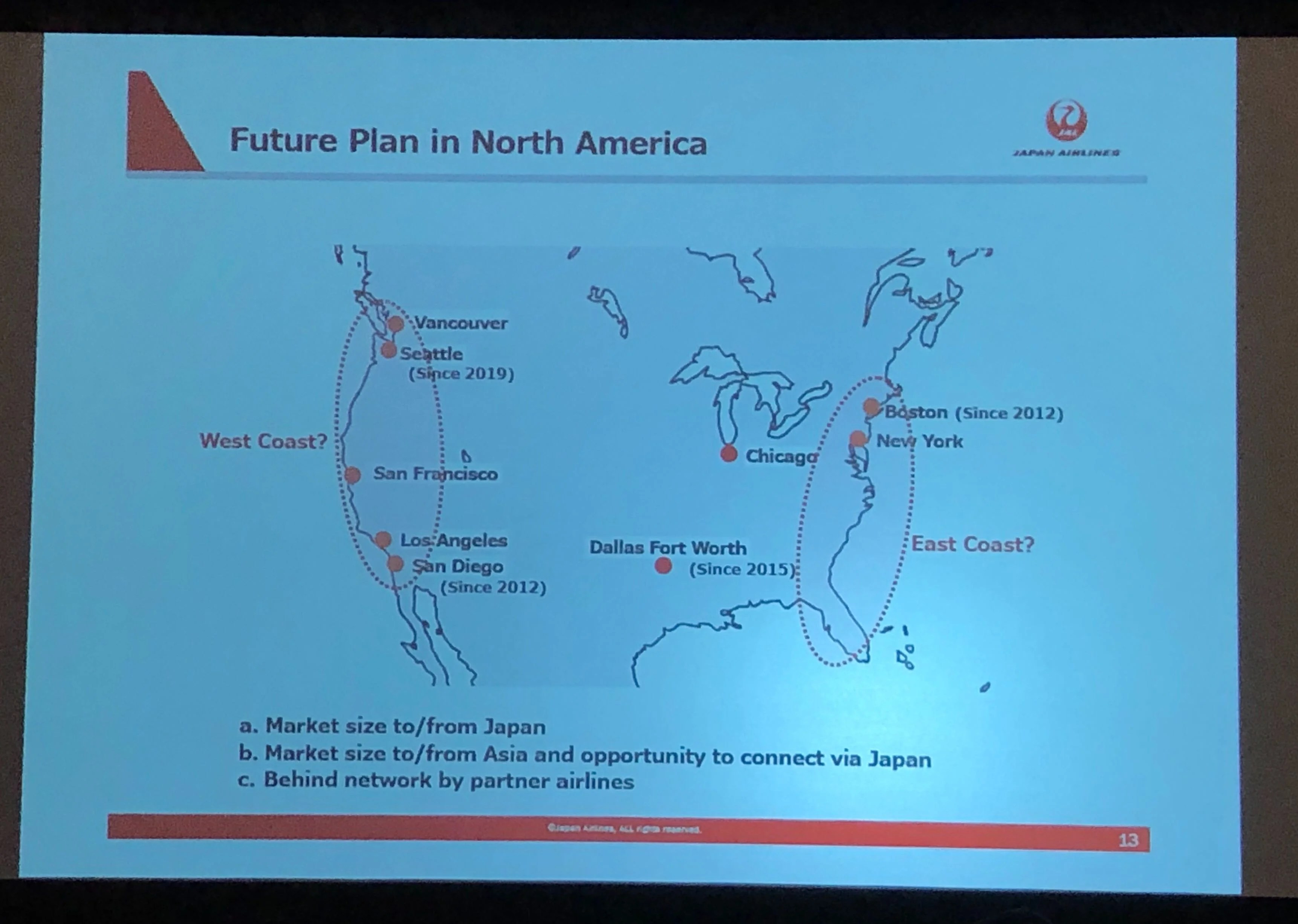 Japan Airlines is looking at adding new destinations on both coasts as soon as 2021. (Photo by Edward Russell/TPG, presentation by JAL)
