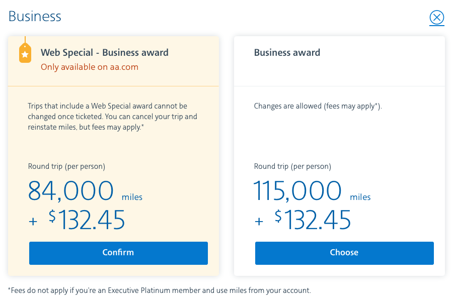 Round-trip business class flights from 84K on American Airlines.