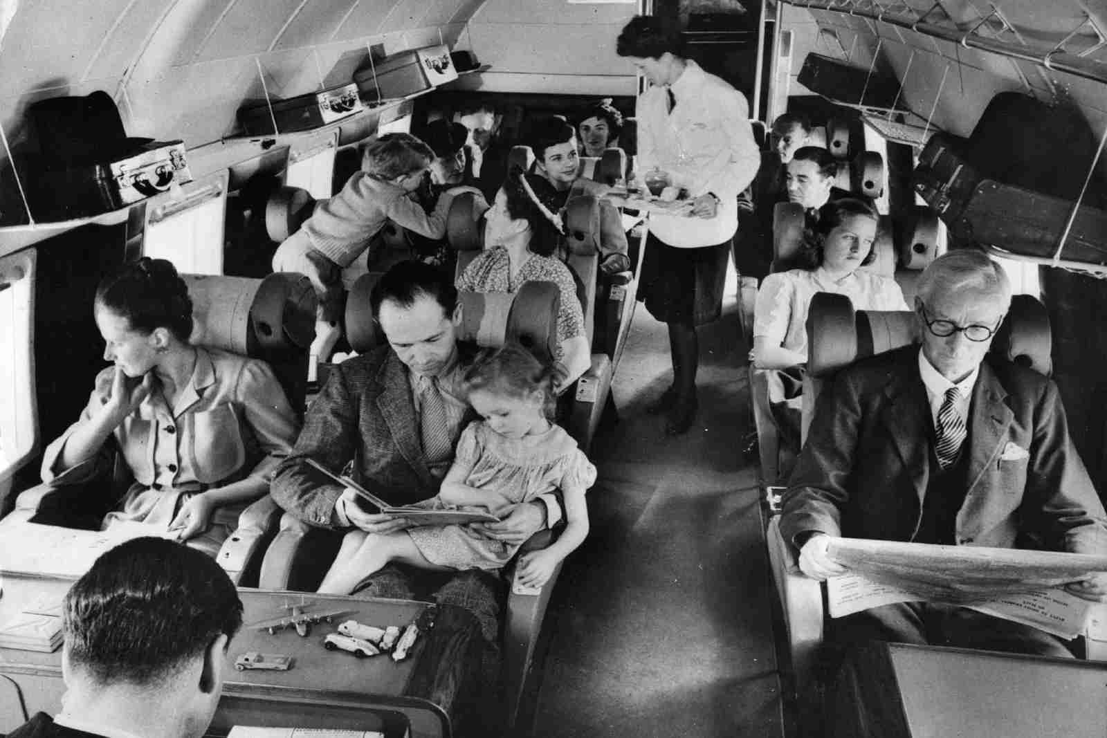 The passenger section of a BEA Vickers in 1960. (Photo by Fox Photos/Getty Images)