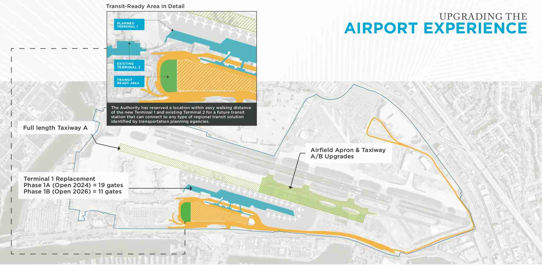 A map showing the different elements of San Diego International Airport