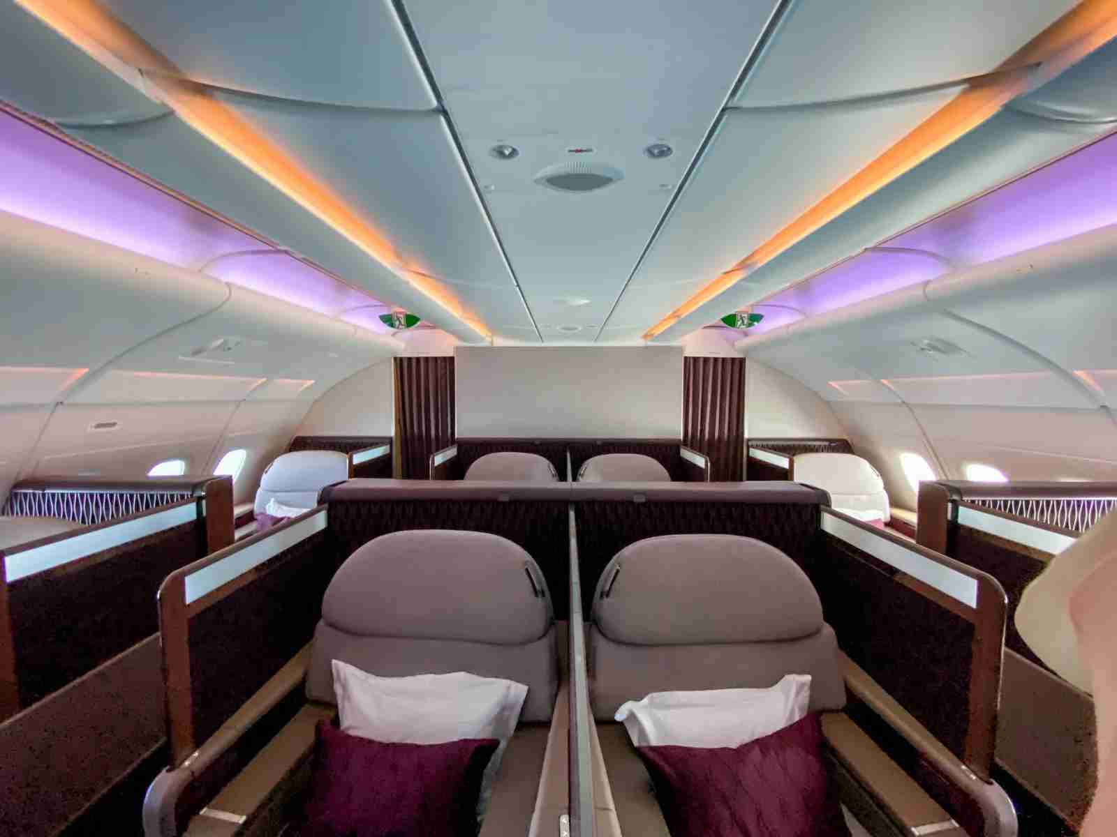 Qatar Airways has used lighting to set various moods in their first class cabins. (Photo by Liam Spencer/The Points Guy)