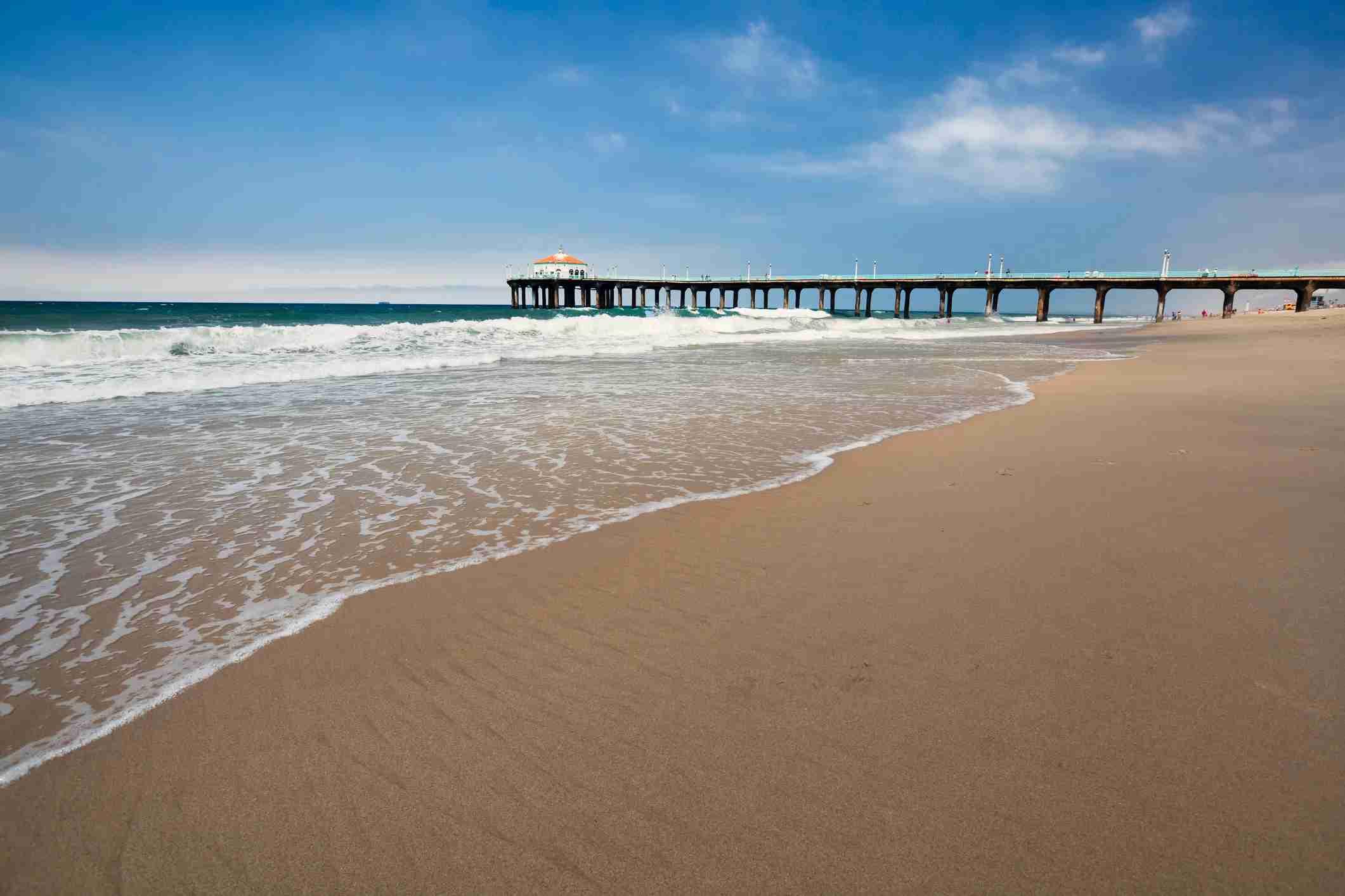 """Manhattan Beach in southern California, pier in the background."""