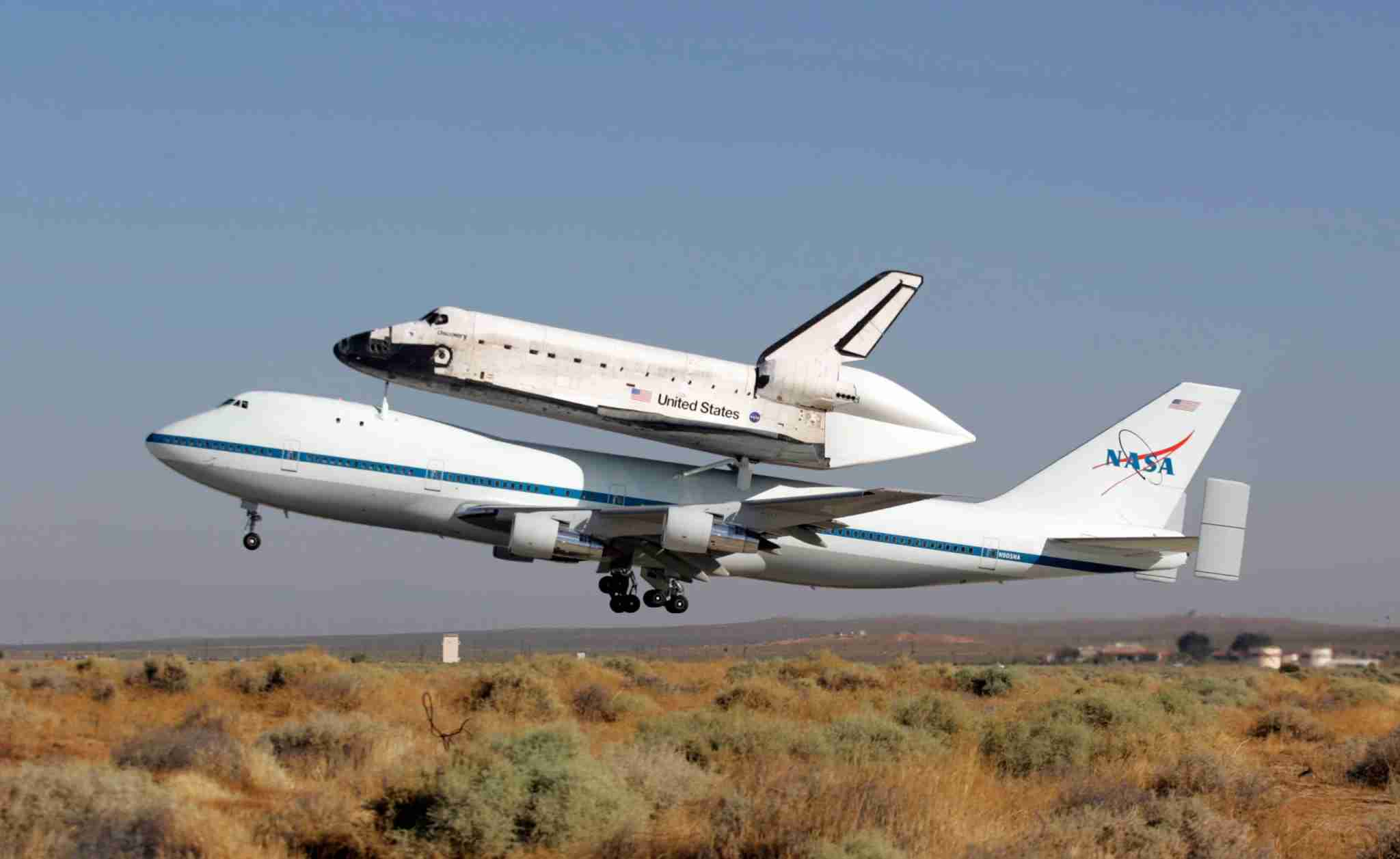 Space Shuttle Discovery departed from runway 22 at NASAs Dryden Flight Research Center at Edwards Air Force Base atop a modified Boeing 747 Shuttle Carrier Aircraft at 8:31a.m. Friday, August 19, 2005. (Photo by Stephen Osman/Los Angeles Times via Getty Images)