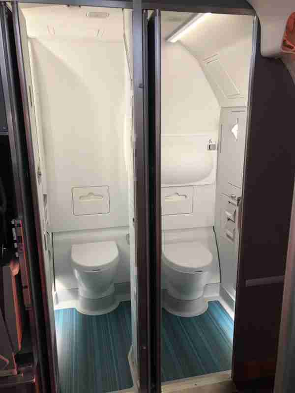The aft lavatories on Air Canada