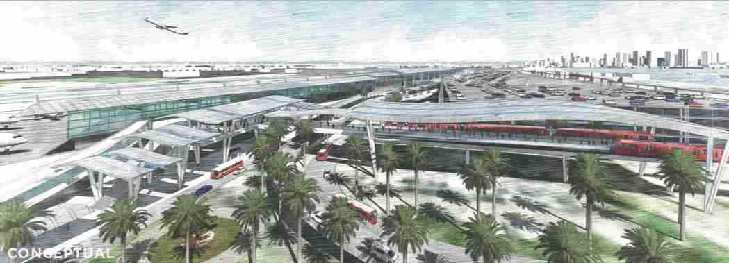 A conceptual rendering a possible new transit station at San Diego airport. (Image by San Diego International Airport)