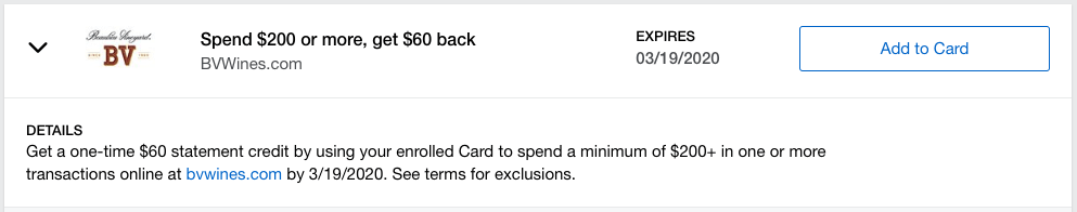 *Offer pulled on Jan. 14, 2020, and may not be applicable to every Amex cardholder.