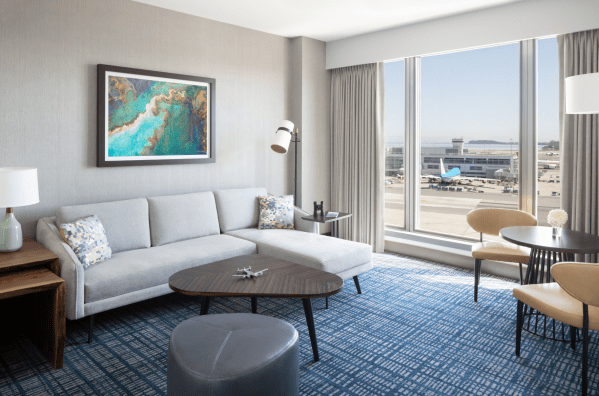 Grand Hyatt at SFO Grand Parlor Suite with a view of a gate at the airport. (Image courtesy Hyatt)
