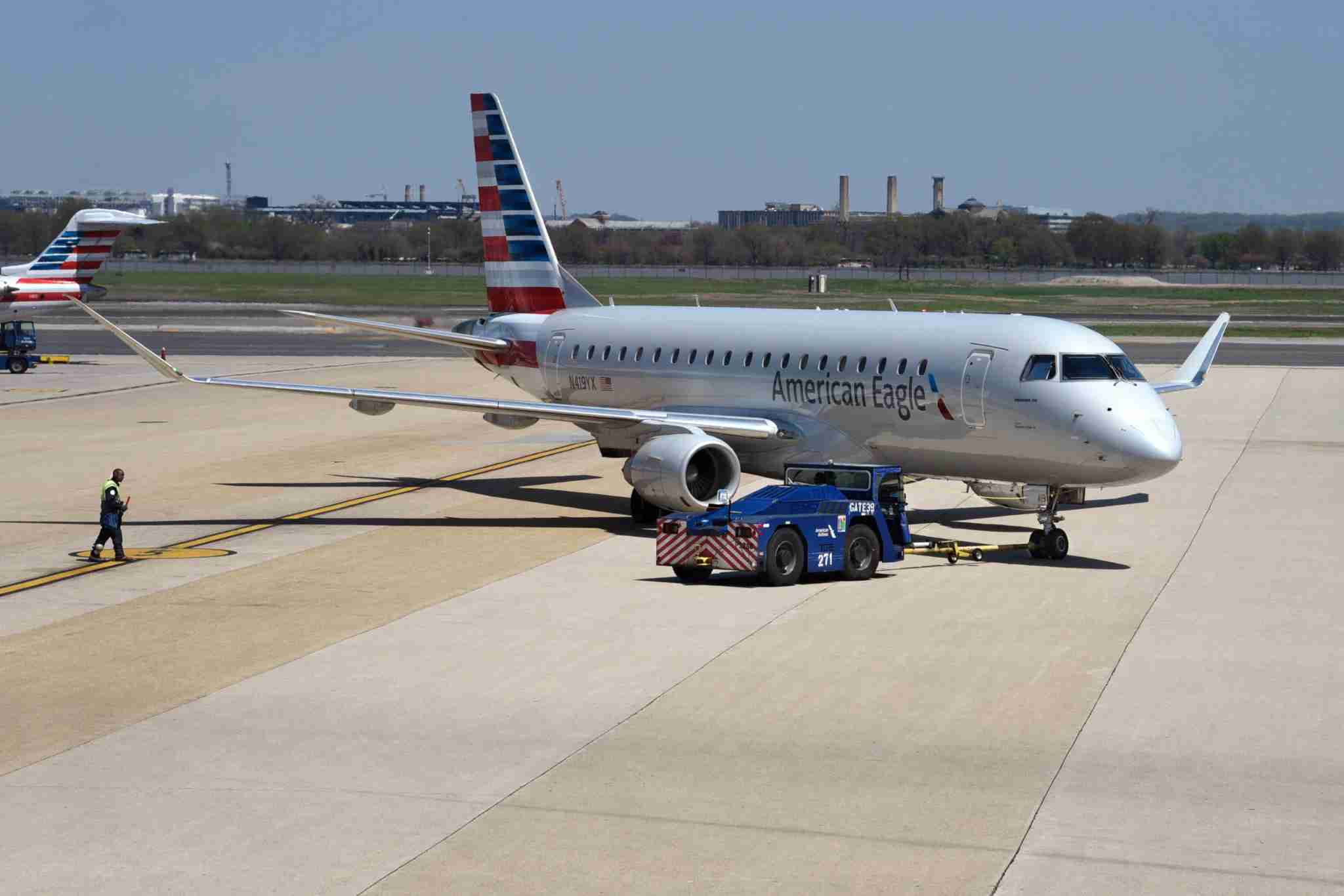 An American Airlines Embraer ERJ175 aircraft is pushed from its gate at Ronald Reagan Washington National Airport. (Photo by Robert Alexander/Getty Images)