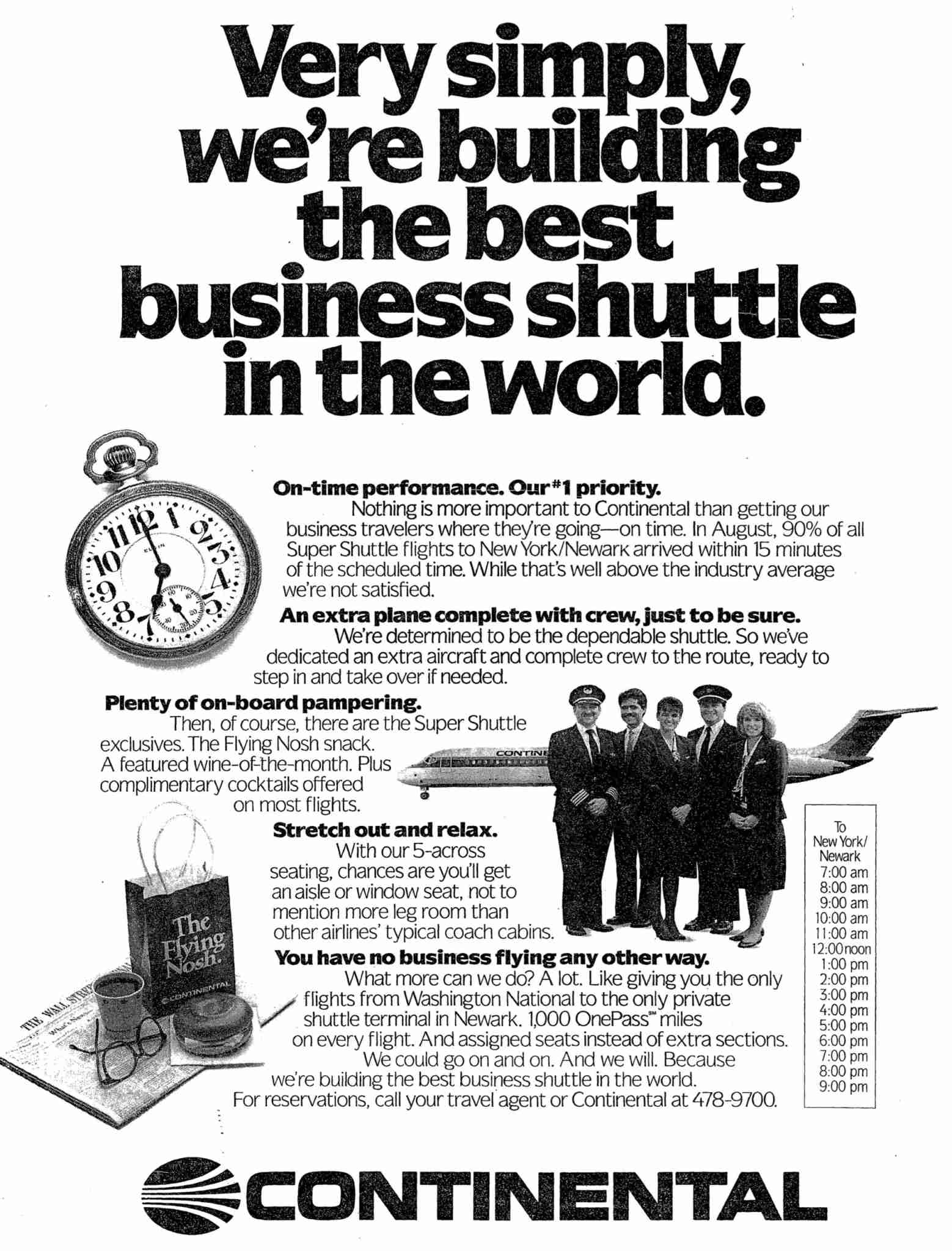 An ad for Continental Airlines