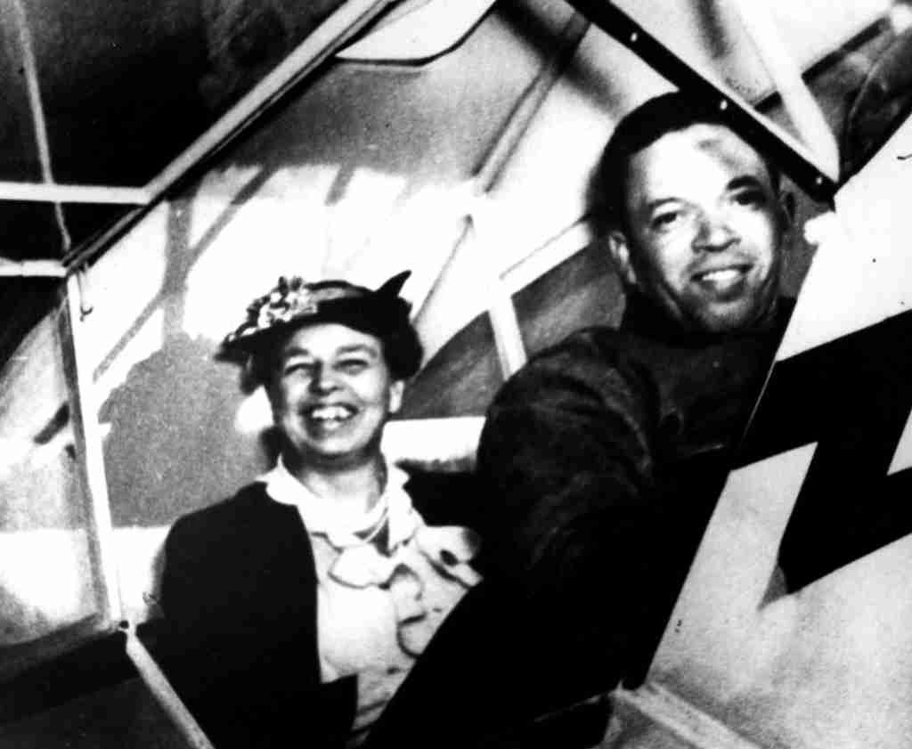 """First Lady Eleanor Roosevelt in a Piper J-3 Cub trainer with C. Alfred """"Chief"""" Anderson. (Photo by the U.S. Air Force)"""