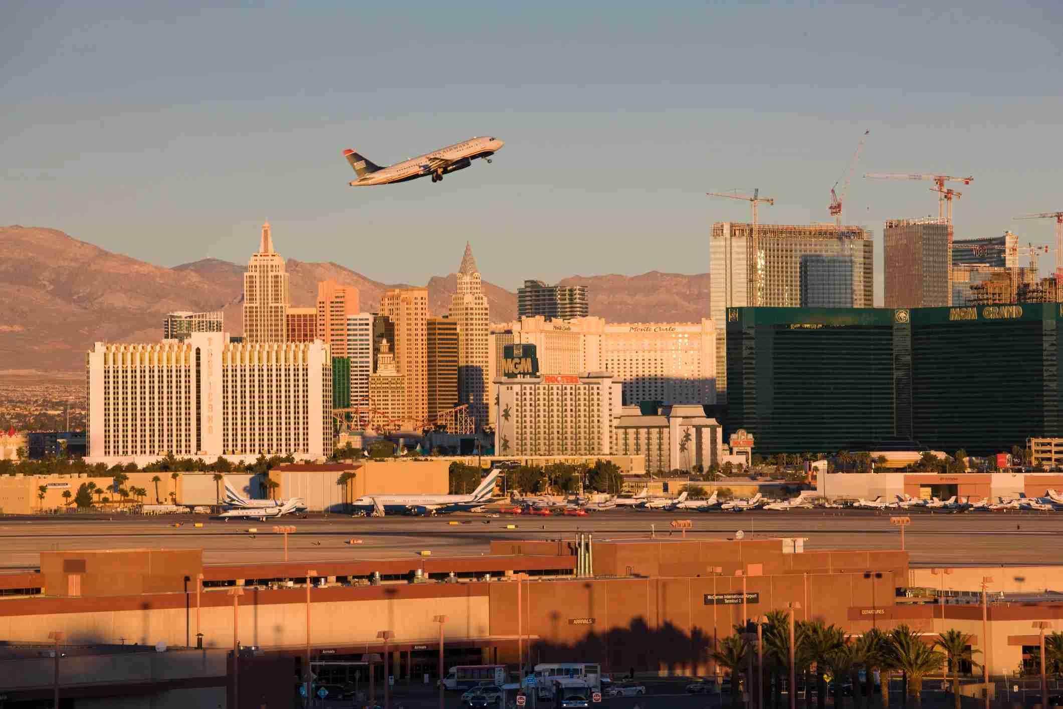 Airplane view taking off from Las Vegas McCarran International Airport (Photo by Walter Bibikow/Getty Images).