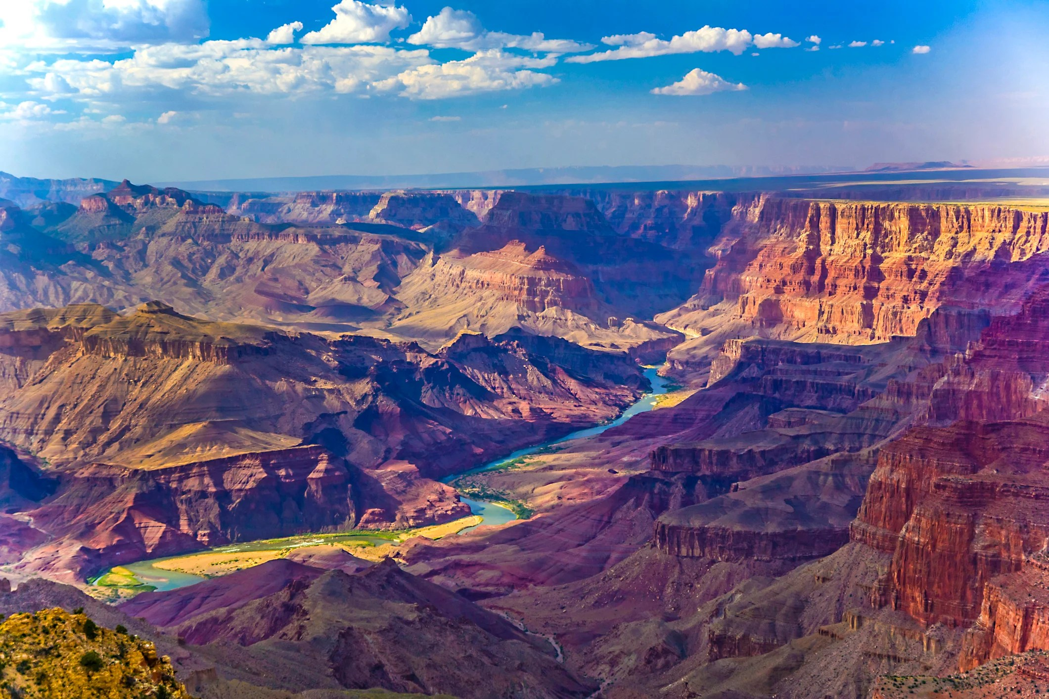 Grand canyon at sunrise with river Colorado. (Photo by Meinzahn/Getty Images)