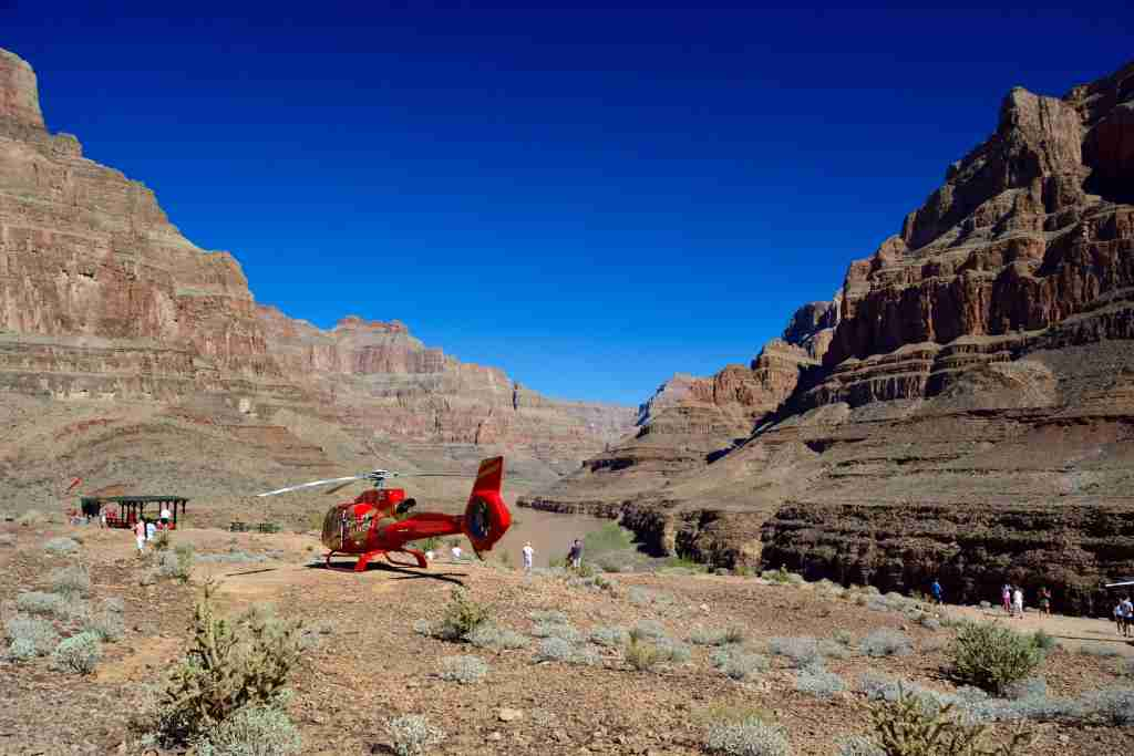 Helicopter tour inside the Grand Canyon (Photo by Onnes/Getty Image).