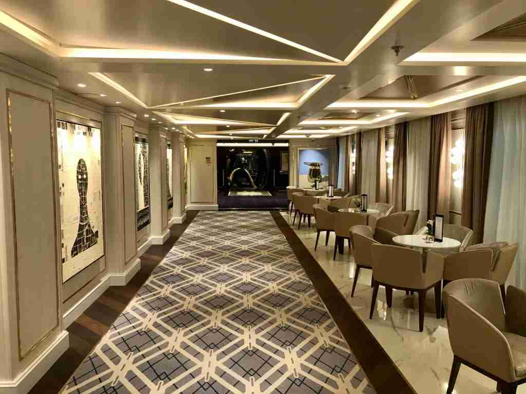 The flow between the main interior public areas on Seven Seas Splendor is better than on sister ship Seven Seas Explorer, thanks to design change. (Photo by Gene Sloan/The Points Guy)