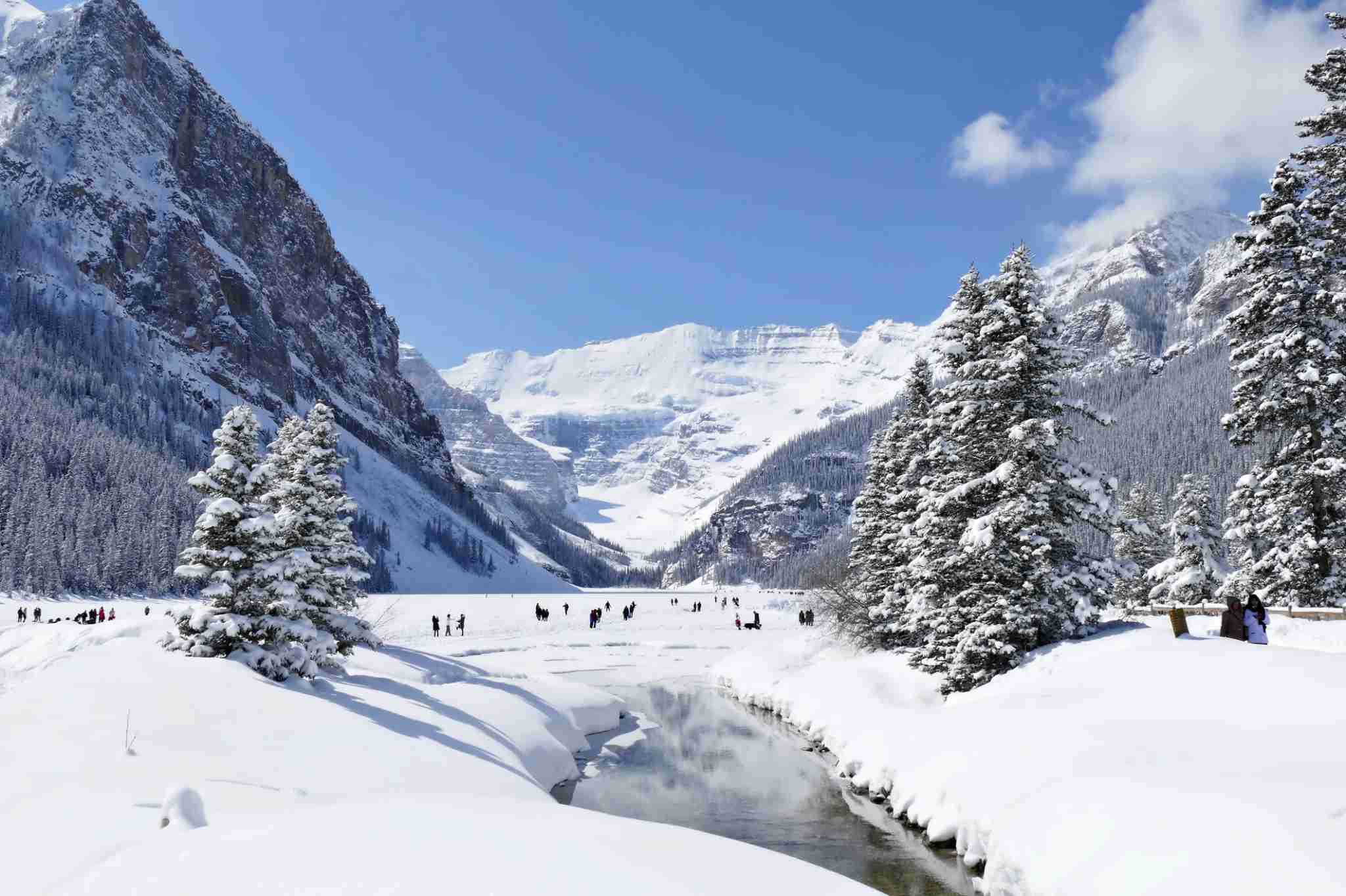 Lake Louise is a glacial lake located in Alberta Canada which freezes over completely every winter. (Photo by Piero Damiani/Getty Images)