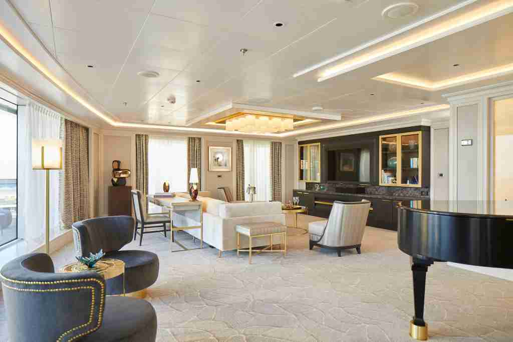 At 4,443 square feet, the Regent Suite on Seven Seas Splendor is bigger than the average home in the United States. (Photo courtesy of Regent Seven Seas Cruises)