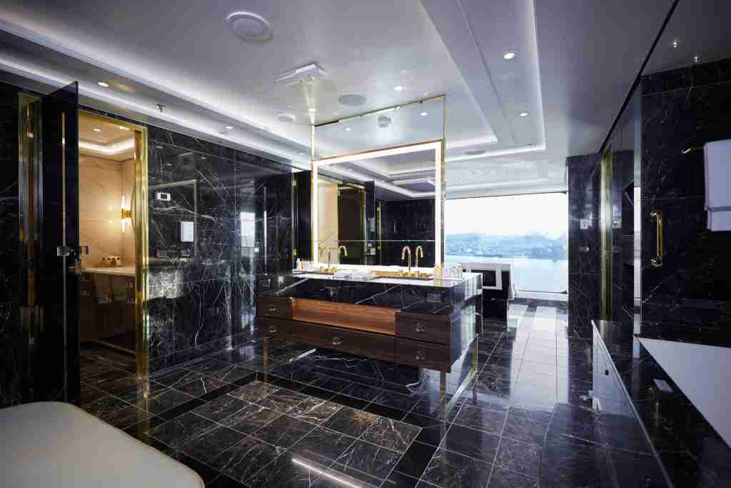 The master bathroom in the Regent Suite is bigger than many standard cruise ship cabins. (Photo courtesy of Regent Seven Seas Cruises)