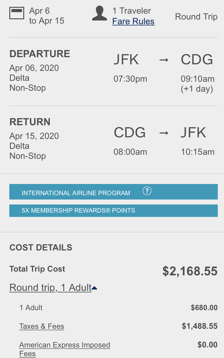 Trip total on American Express