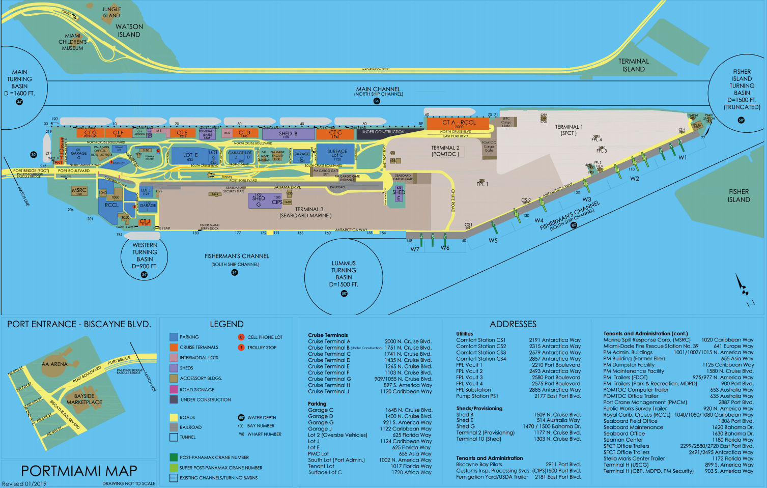 map of port of miami cruise terminal Miami Cruise Port Guide Everything To Know About Hotels Sites map of port of miami cruise terminal