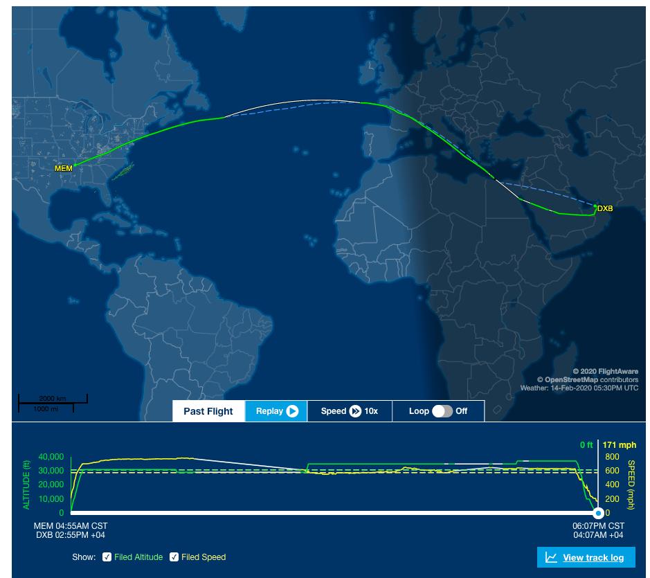 FedEx Flight 8 from Memphis to Dubai. The green line