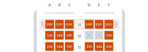 Costs to select exit row seats on American from JFK to LAX.