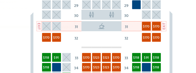 Costs to select exit row seats on American from LAX to HKG.