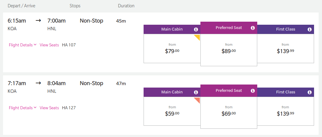 Exit row seats are just $10 extra when flying from Kona to Honolulu.