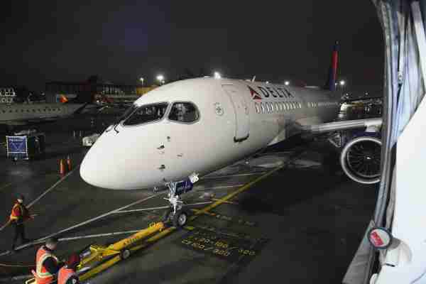 NEW YORK, NY - FEBRUARY 07: Delta Air Lines Celebrates the launch of the first passenger flight on the state-of-the-art, experience-rich Airbus A220-100 aircraft at LaGuardia Airport on February 7, 2019 in New York City. (Photo by Noam Galai/Getty Images for Delta)
