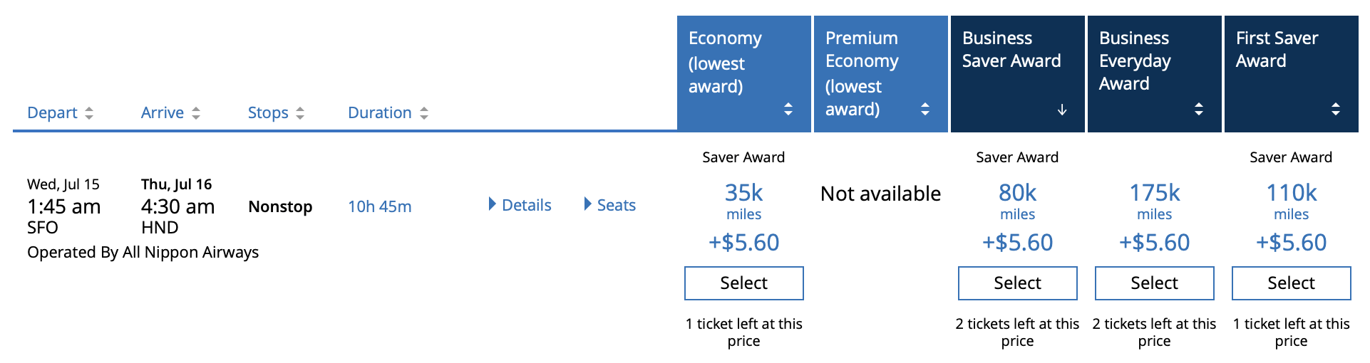 Finding ANA Award Space on United.com