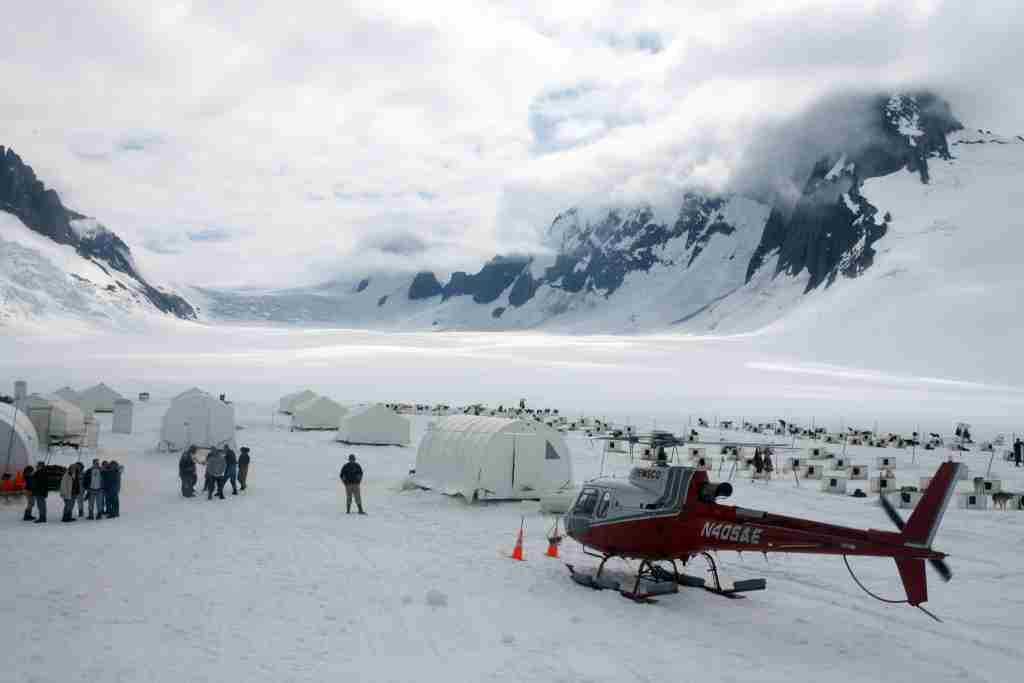 Cruisers arriving in Juneau can sign up for helicopter rides to a dog-sledding camp in a glacier. (Photo by Brian Adams)