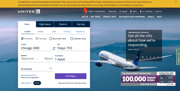 United Airlines website travel waiver on homepage screenshot