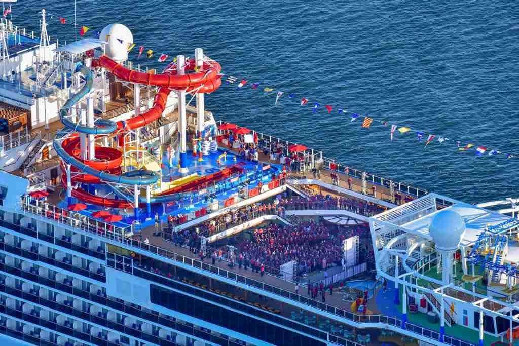 A large waterpark complex called WaterWorks sits atop Carnival Cruise Line