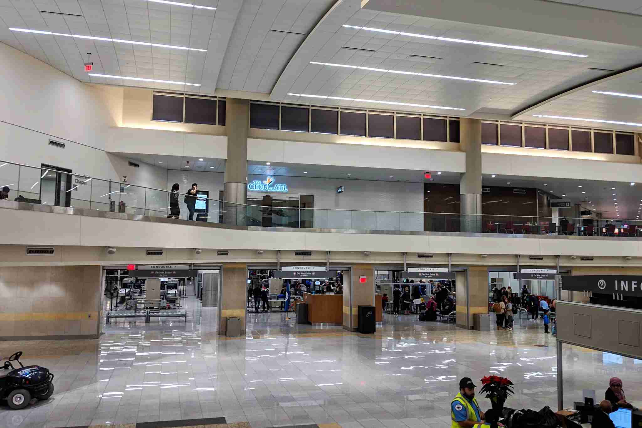 The Club at ATL is on the second level in the main hall of Terminal F.