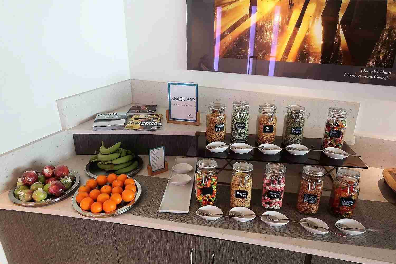 Snack selection in the area for premium passengers on select airlines -- but the choice are similar to those in the main lounge.